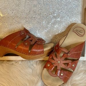 Dansko Leather Floral Detail Clog Slides